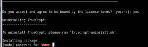 TrueCrypt Linux Install sudo prompt